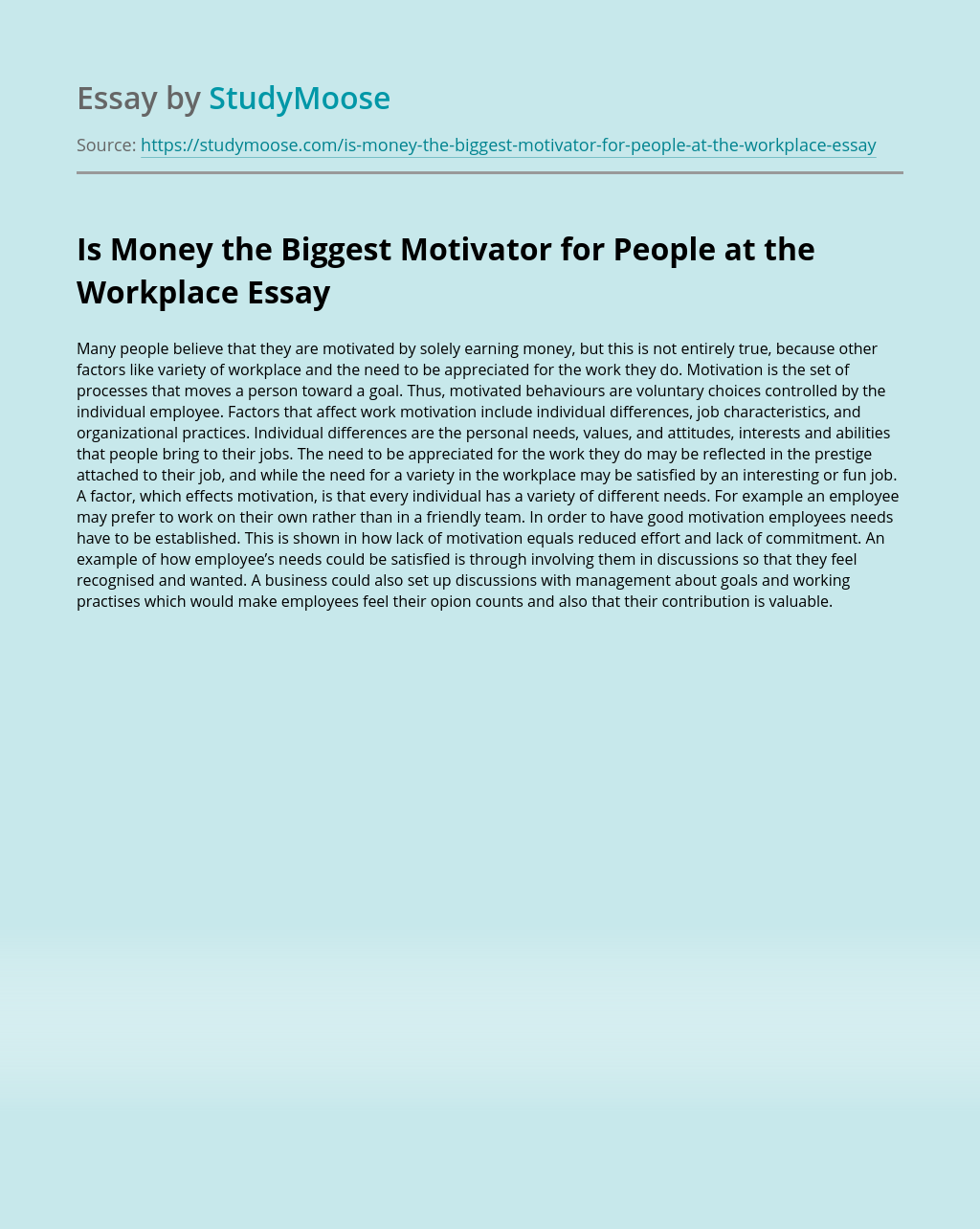 Is Money the Biggest Motivator for People at the Workplace