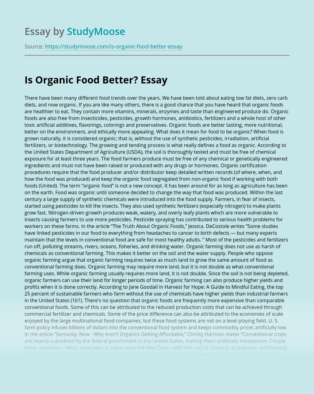 Is Organic Food Better?