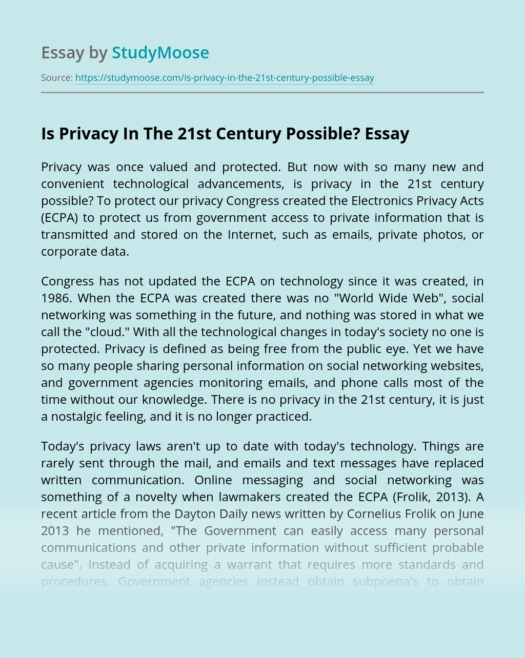 Is Privacy In The 21st Century Possible?