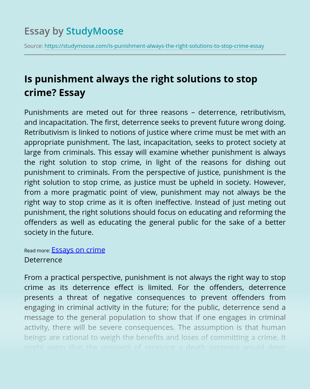 Is punishment always the right solutions to stop crime?