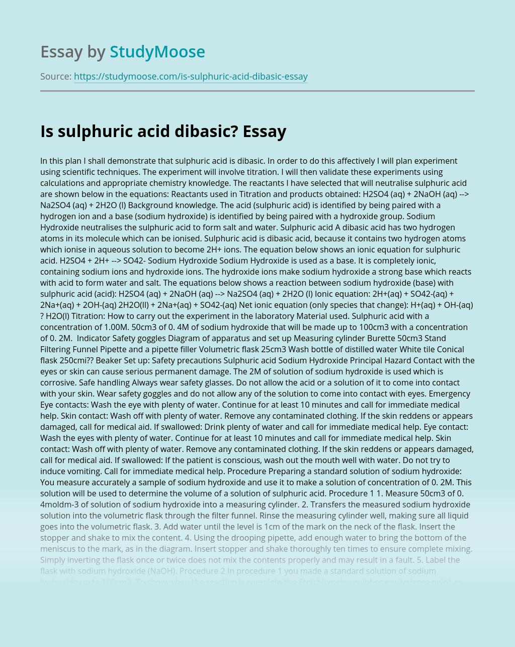 Is sulphuric acid dibasic?