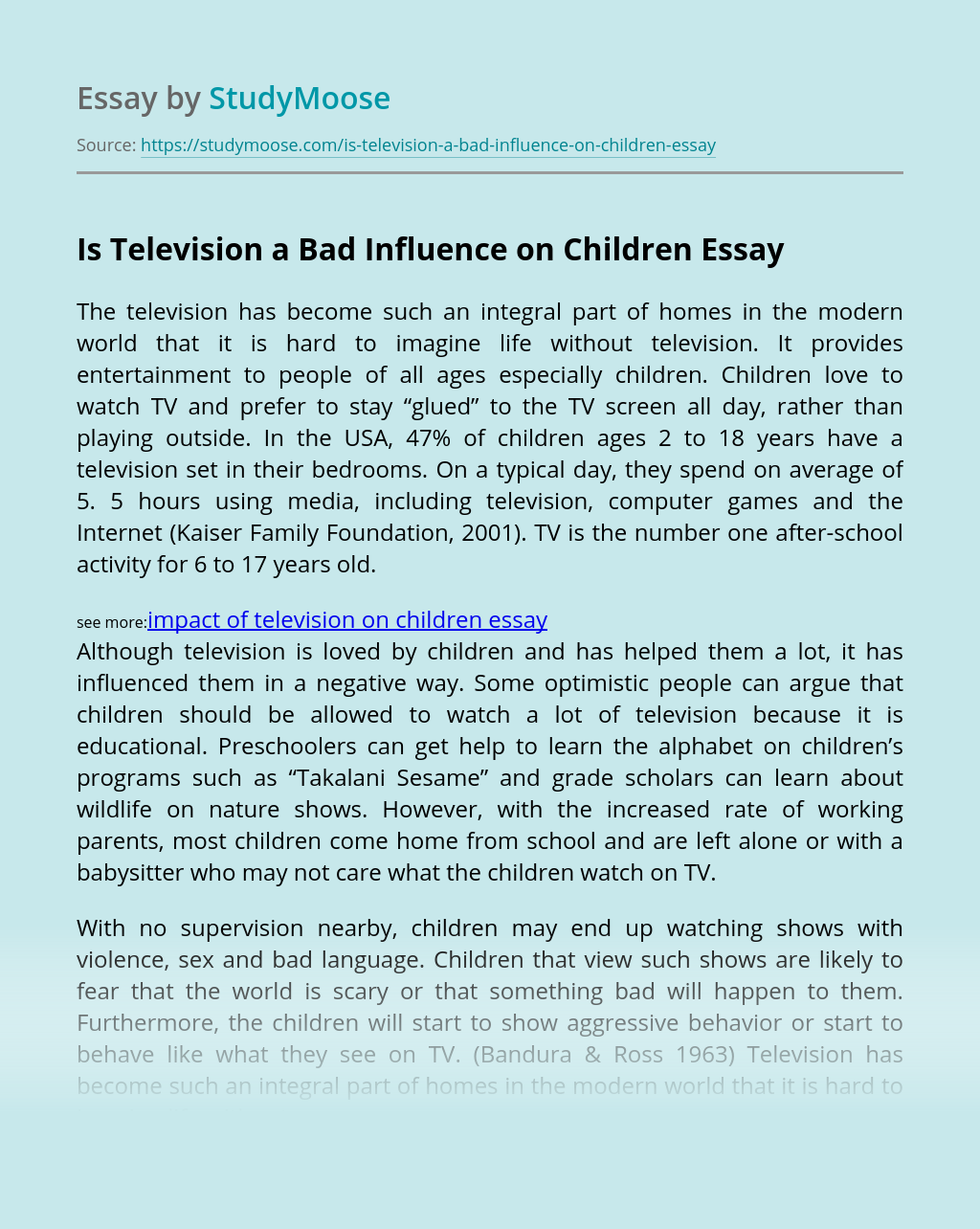 Is Television a Bad Influence on Children