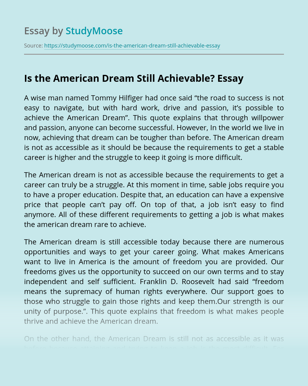 Is the American Dream Still Achievable?