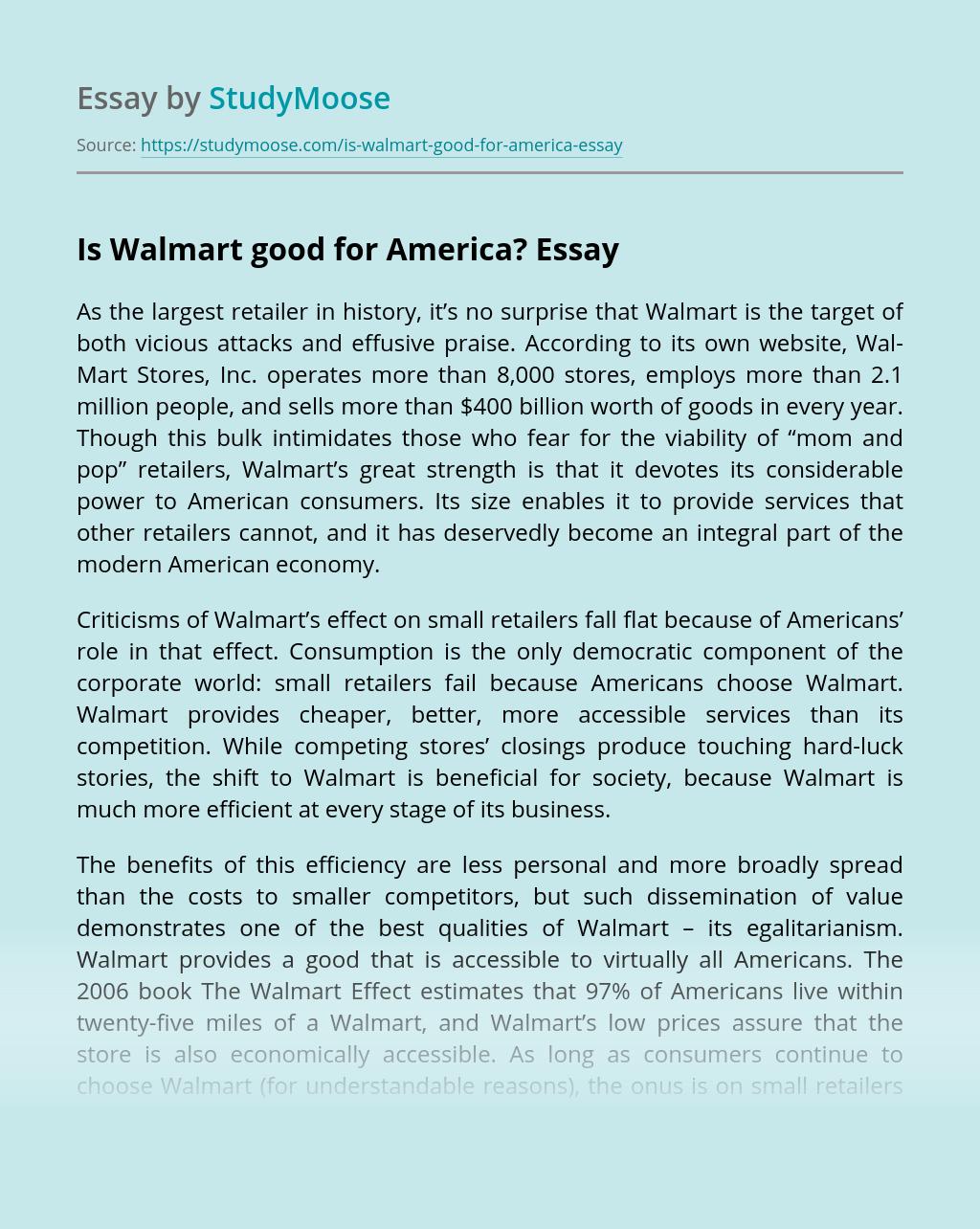 Is Walmart good for America?