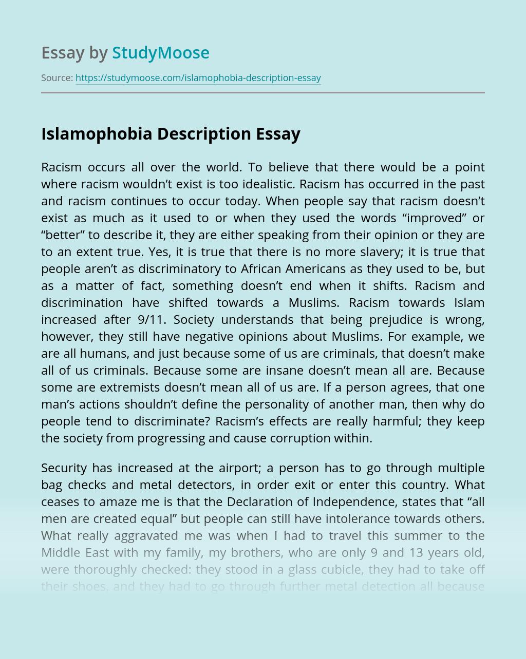 Islamophobia Description