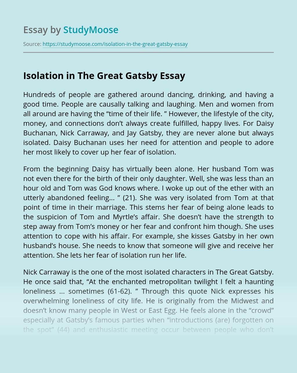 Isolation in The Great Gatsby