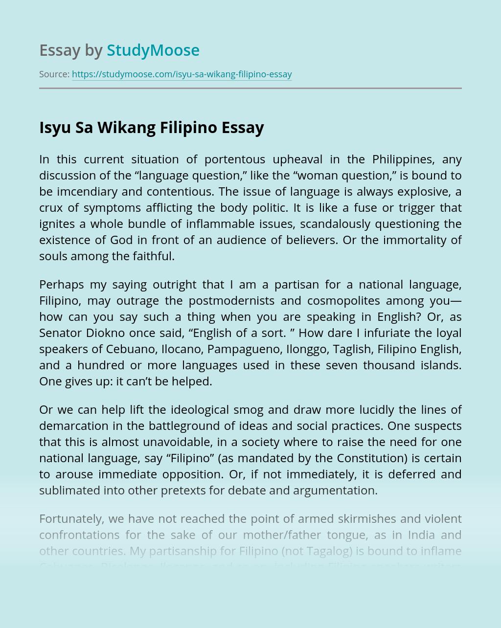 Isyu Sa Wikang Filipino