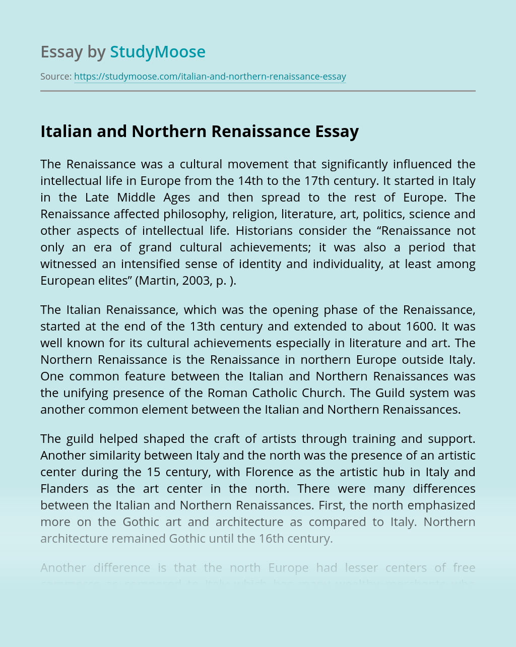 Italian and Northern Renaissance