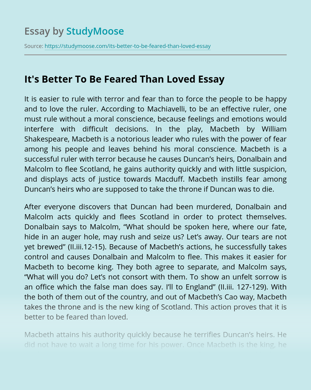 It's Better To Be Feared Than Loved
