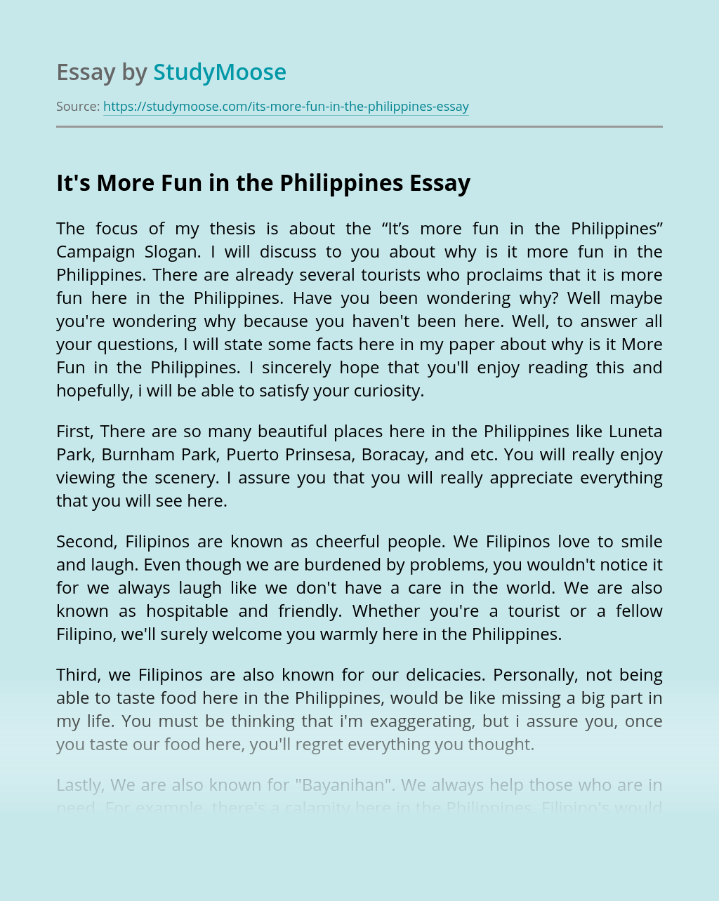 It S More Fun In The Philippines Free Essay Example