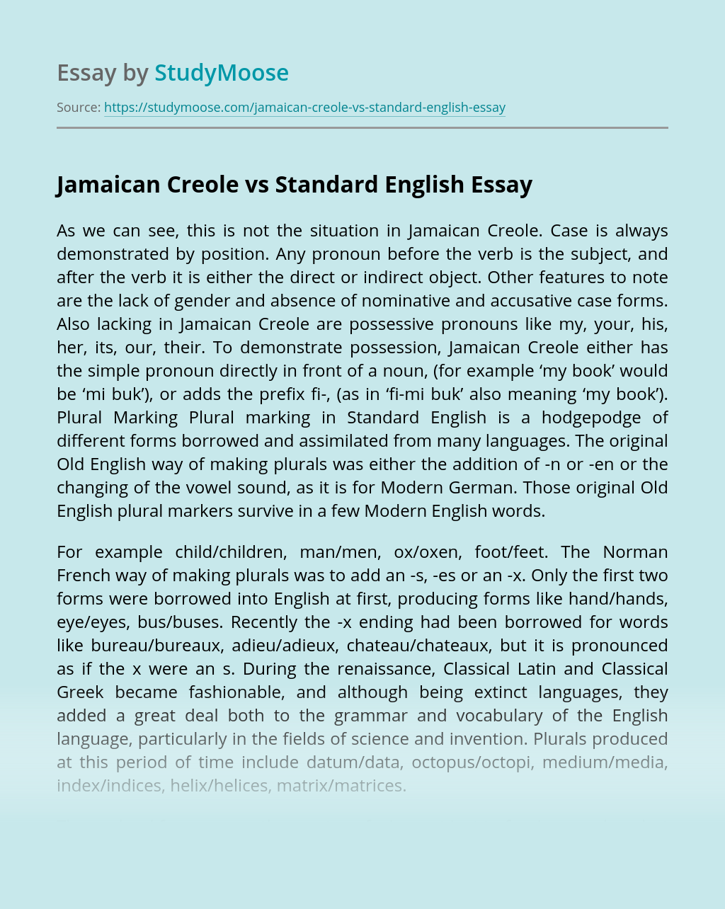 Jamaican Creole vs Standard English