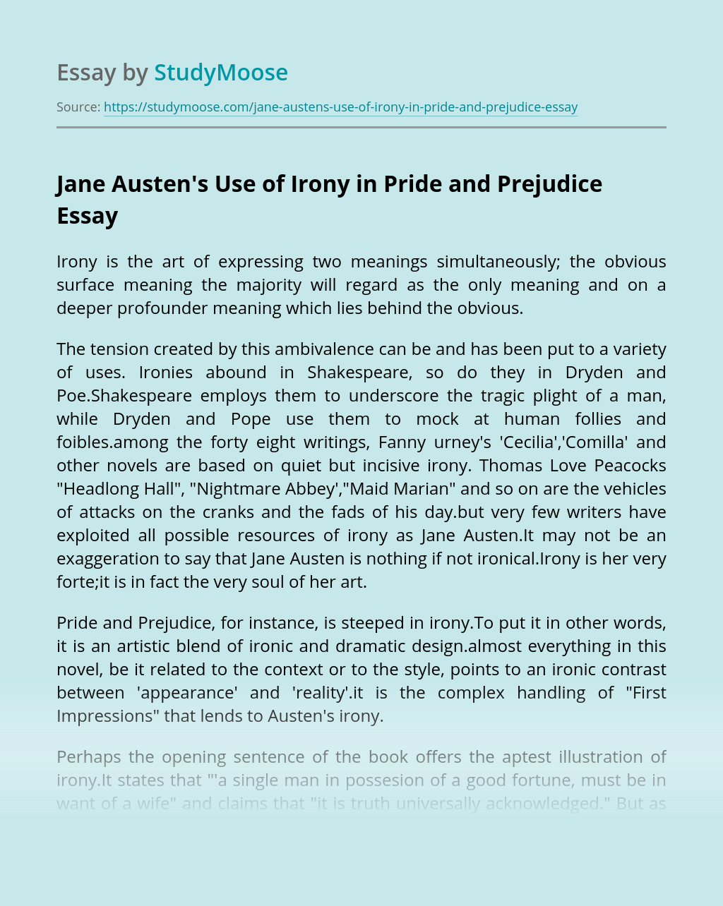 Jane Austen's Use of Irony in Pride and Prejudice