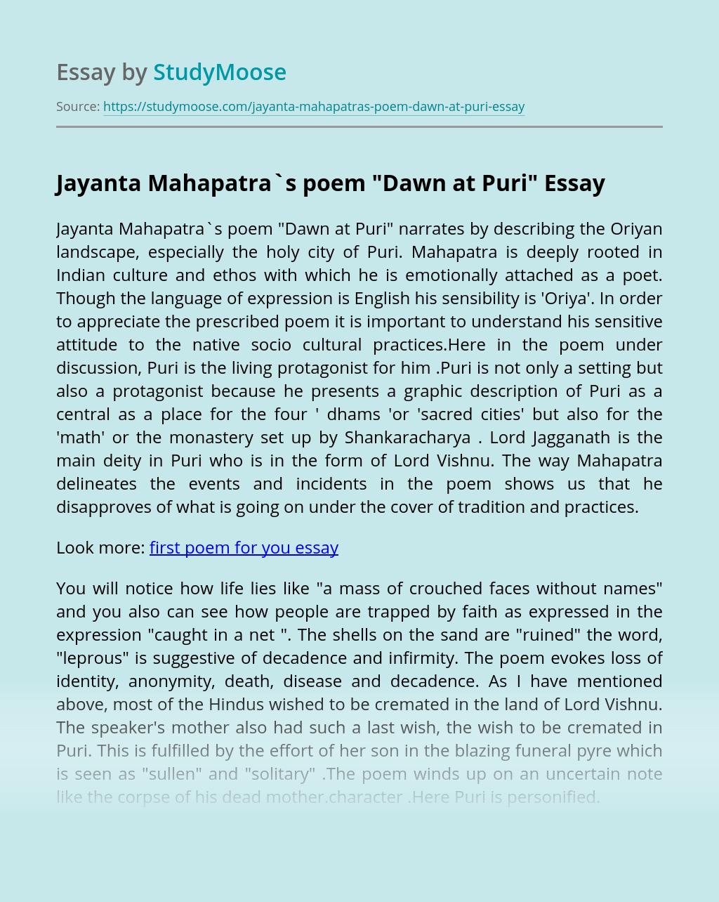 Jayanta Mahapatra`s poem