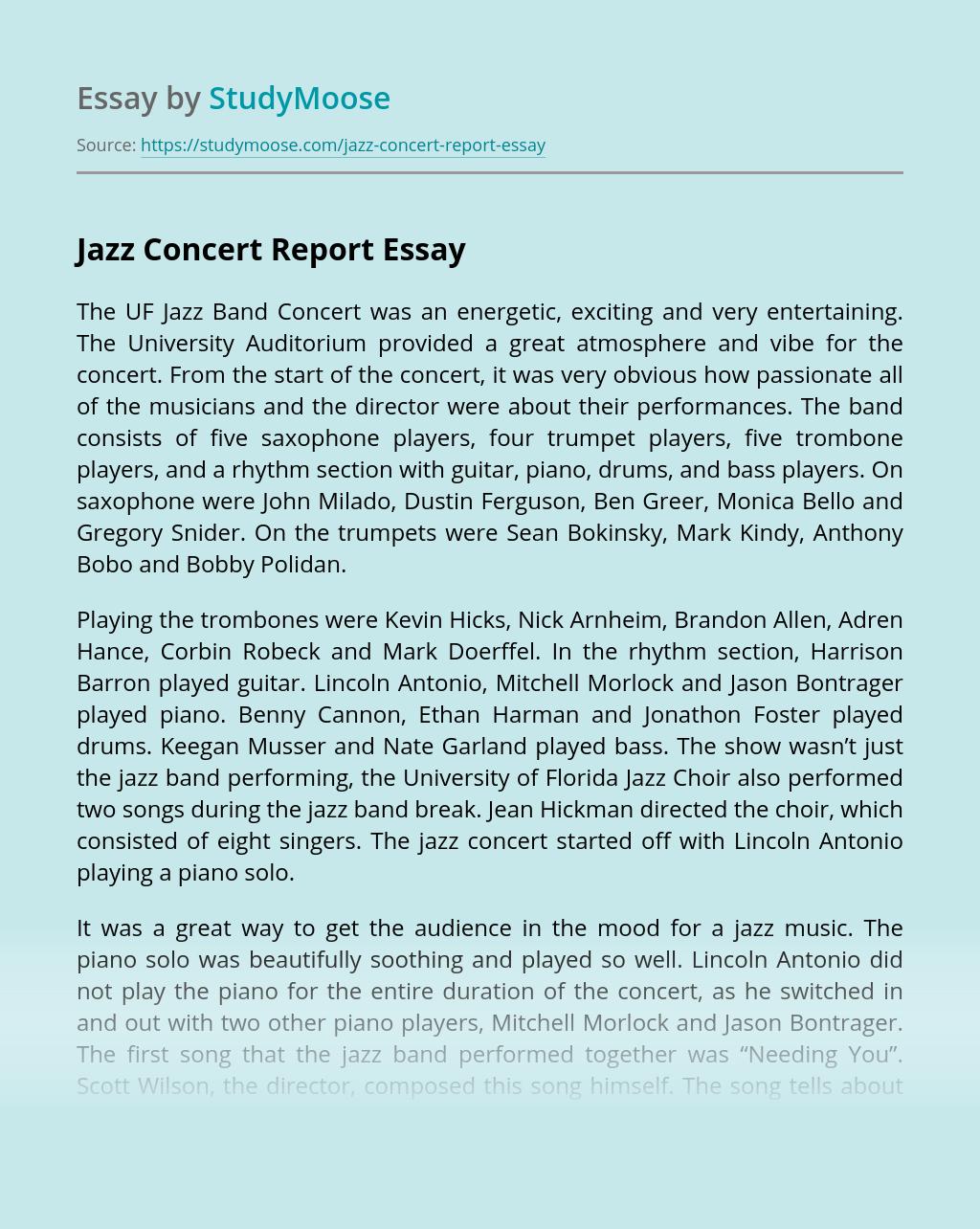 Jazz Concert Report