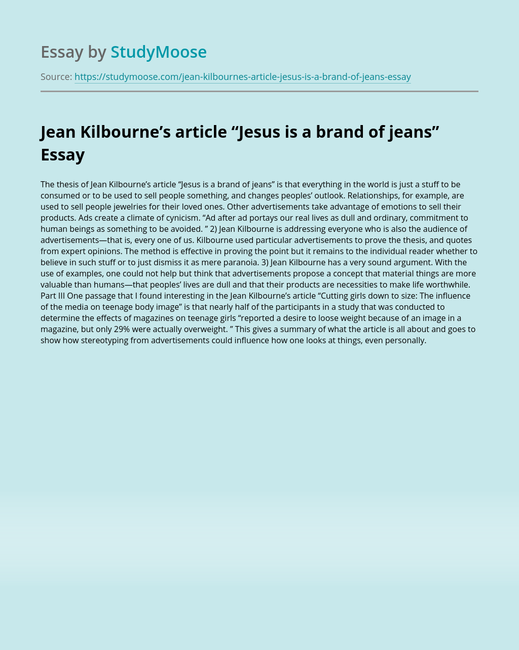 """Jean Kilbourne's article """"Jesus is a brand of jeans"""""""