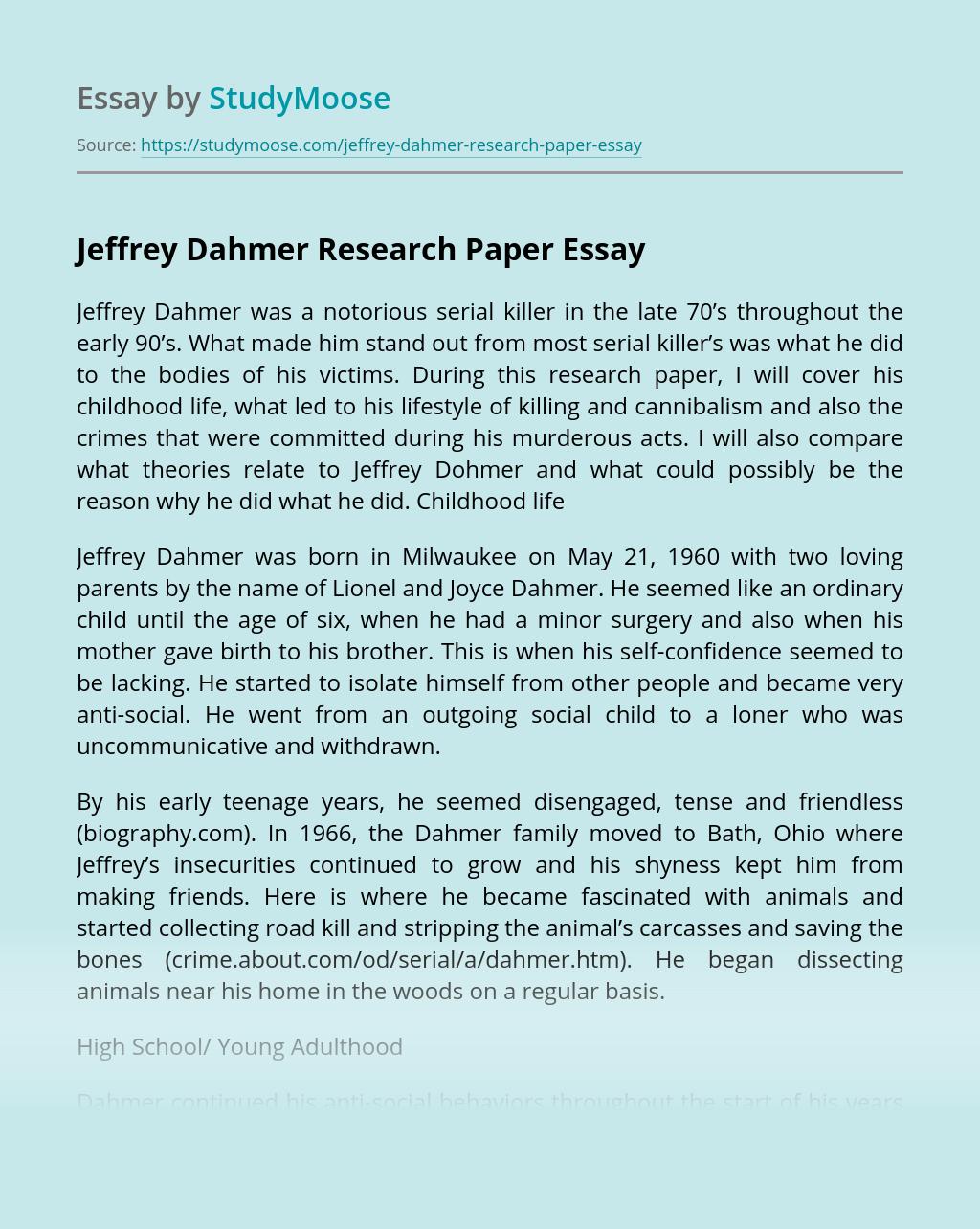 Jeffrey Dahmer Research Paper