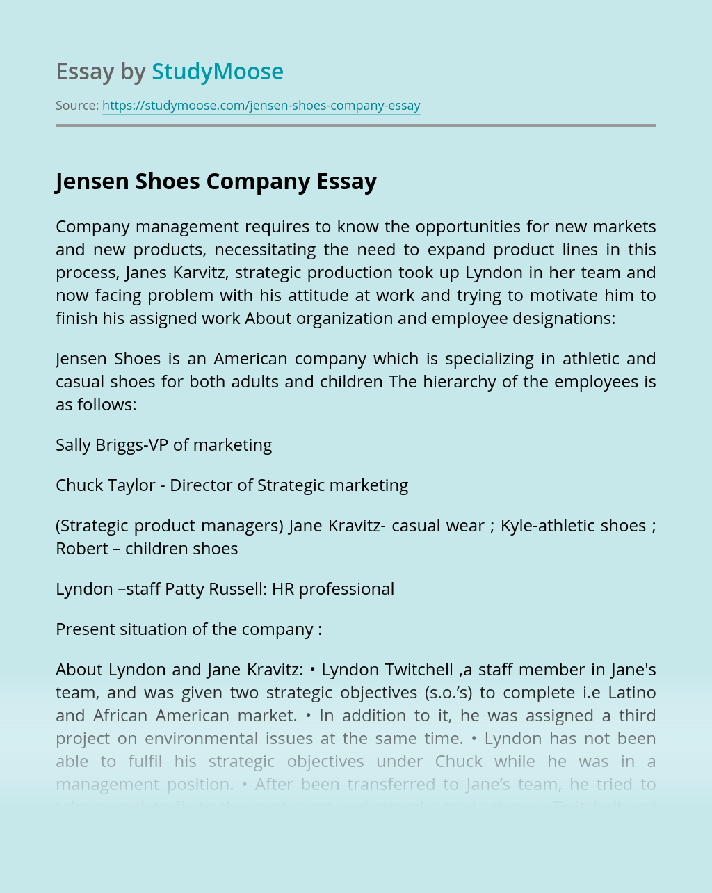 Jensen Shoes Company