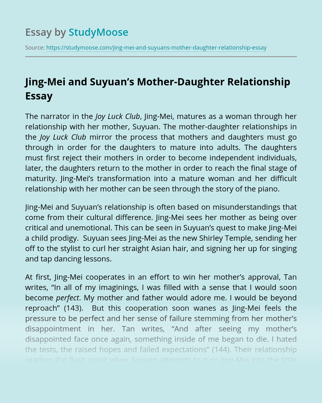 Jing-Mei and Suyuan's Mother-Daughter Relationship