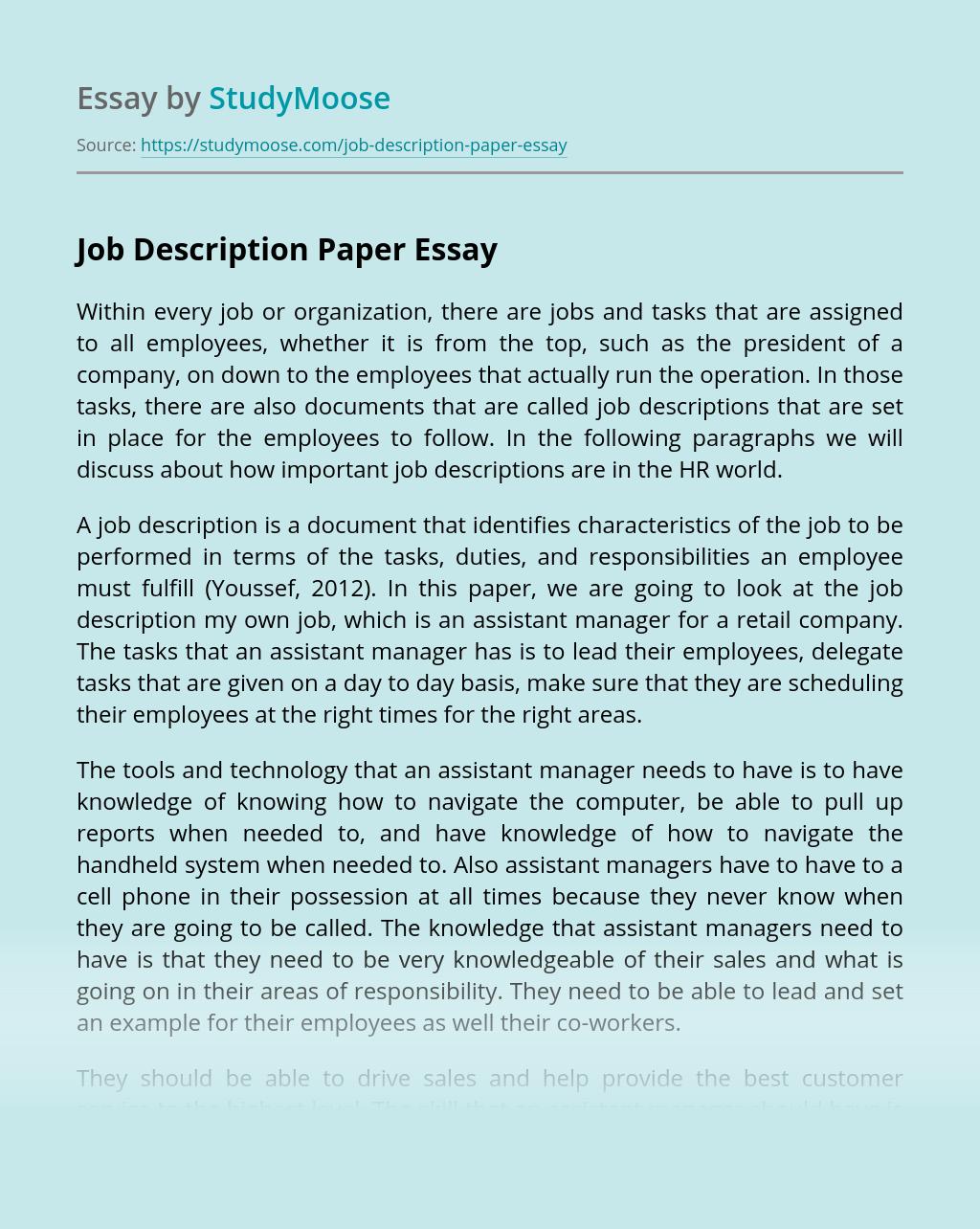 Job Description Paper