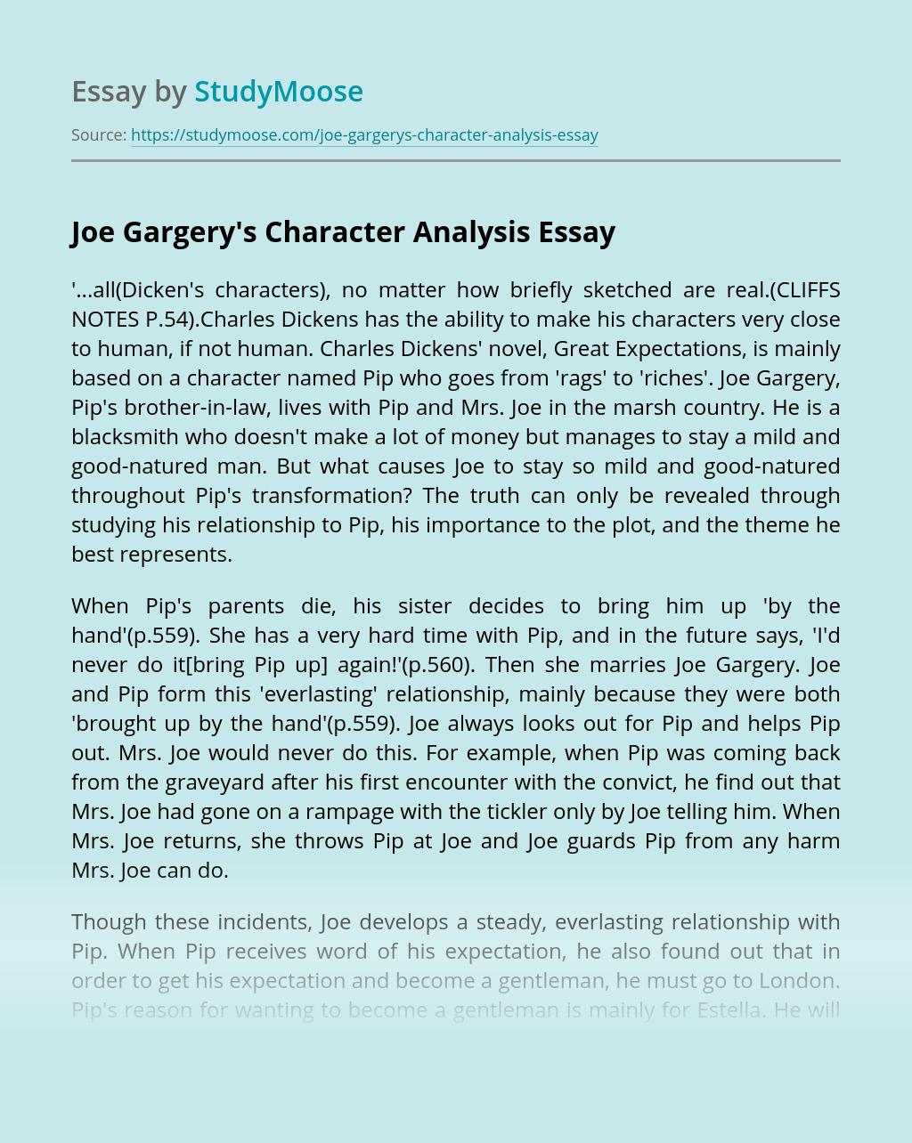 Joe Gargery's Character Analysis