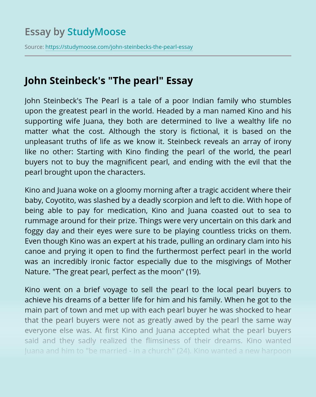 """John Steinbeck's """"The pearl"""""""