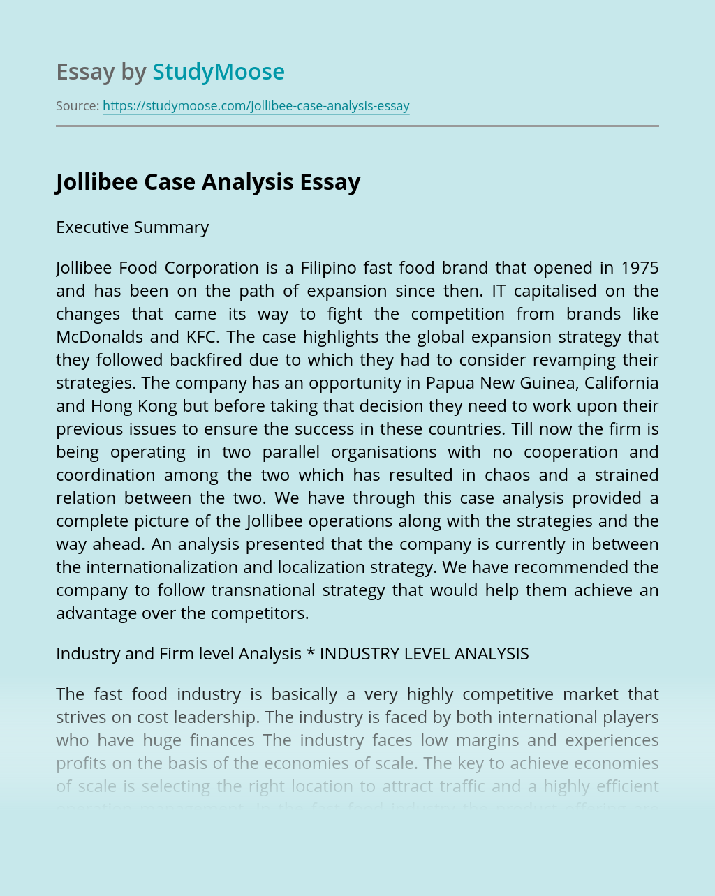 Jollibee Case Analysis