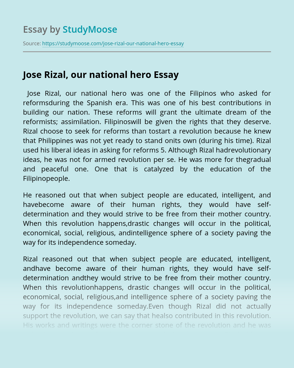 Jose Rizal, our national hero
