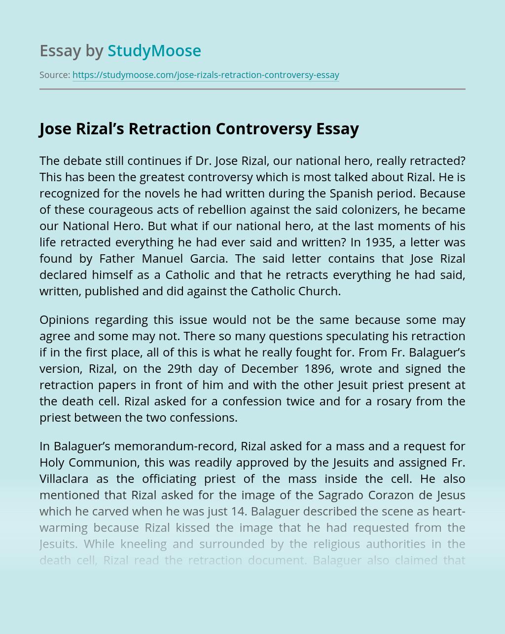 Jose Rizal's Retraction Controversy