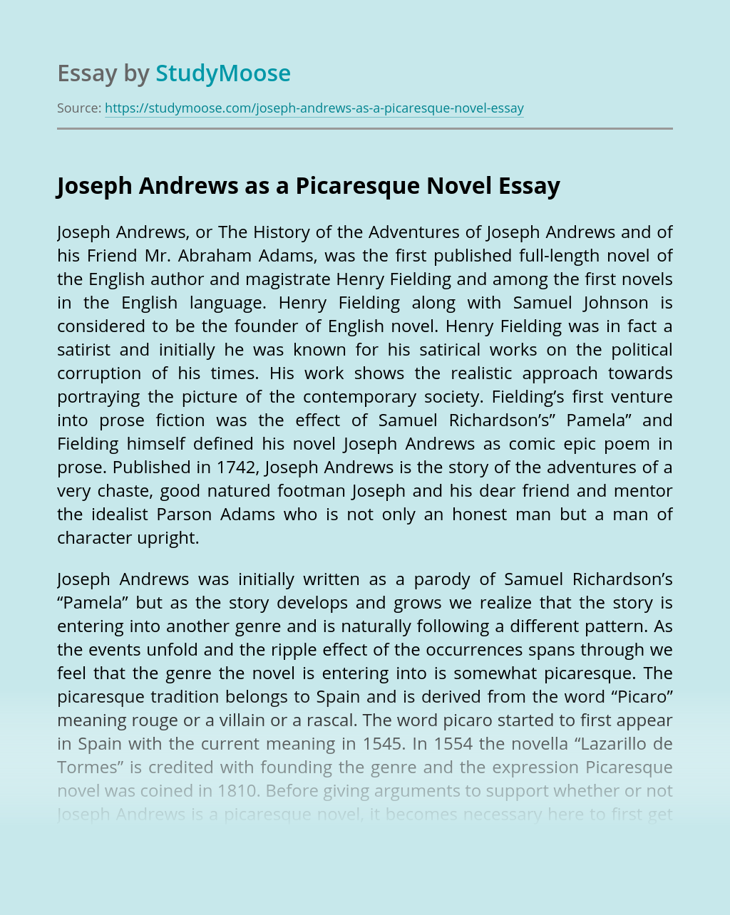 Joseph Andrews as a Picaresque Novel