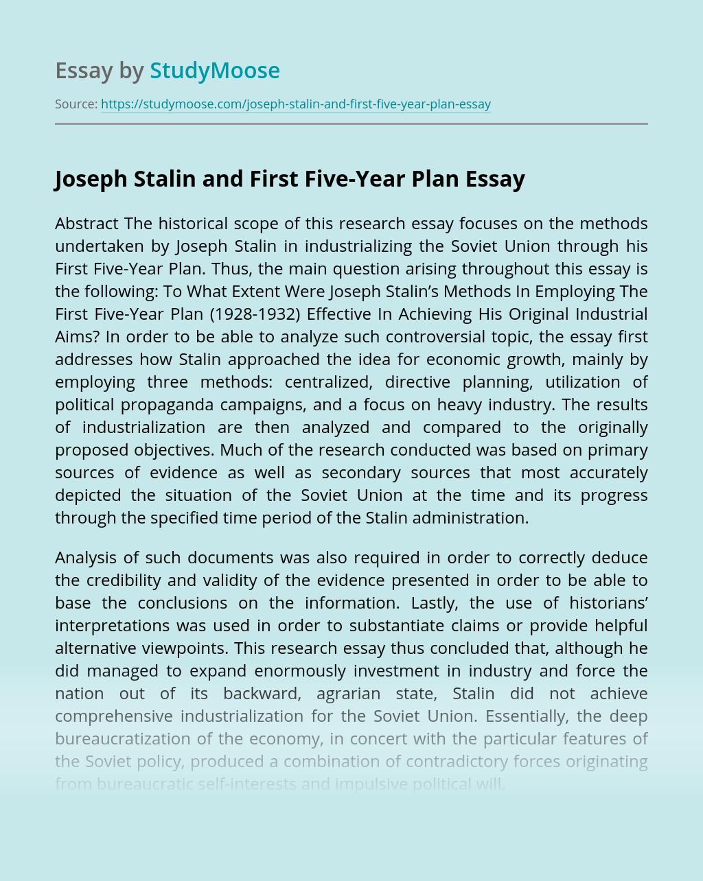 Joseph Stalin and First Five-Year Plan