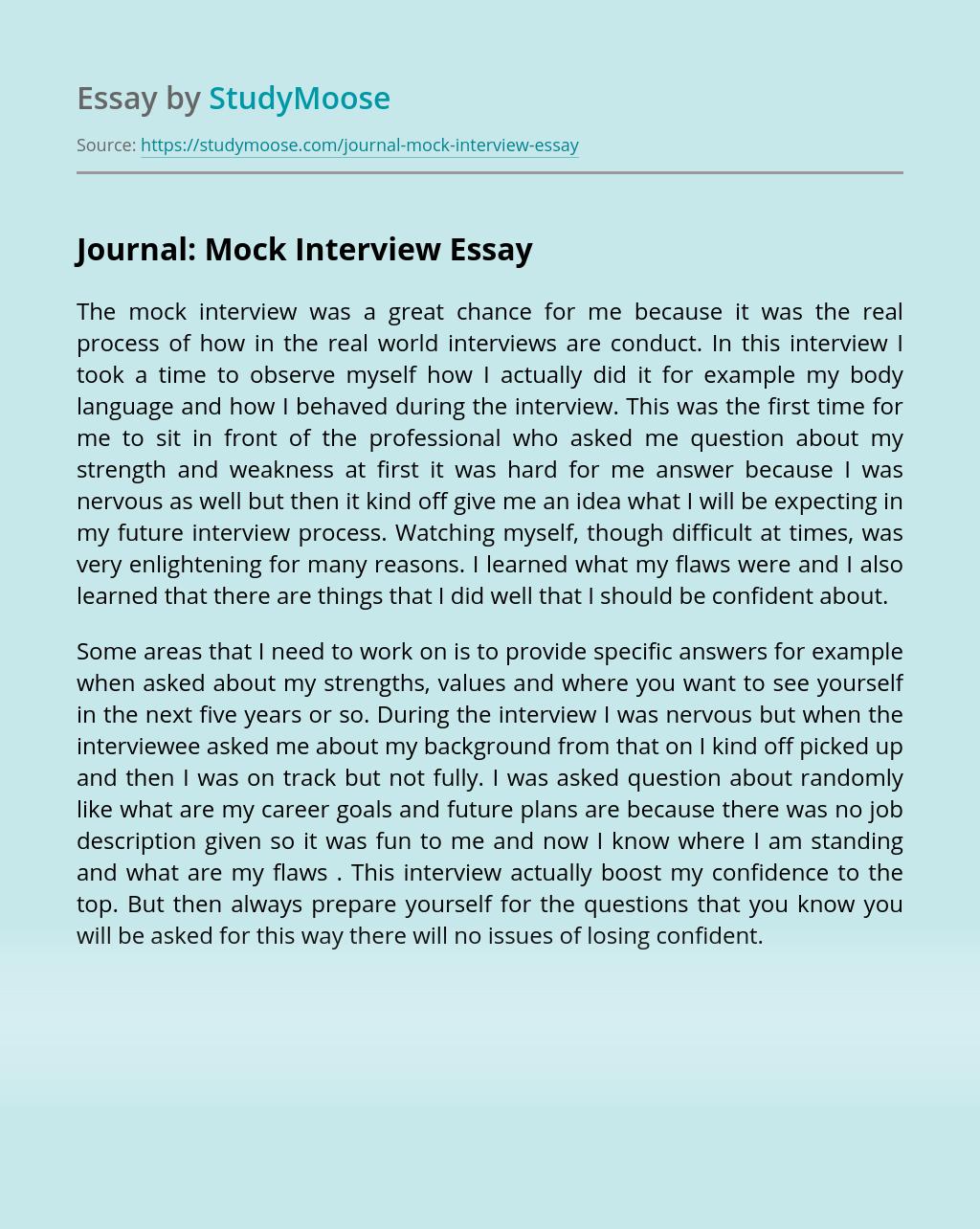 Journal: Mock Interview