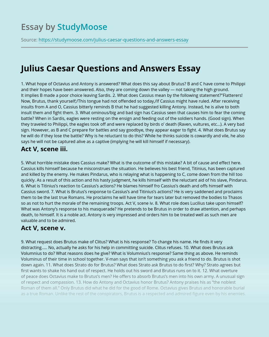 Julius Caesar Questions and Answers