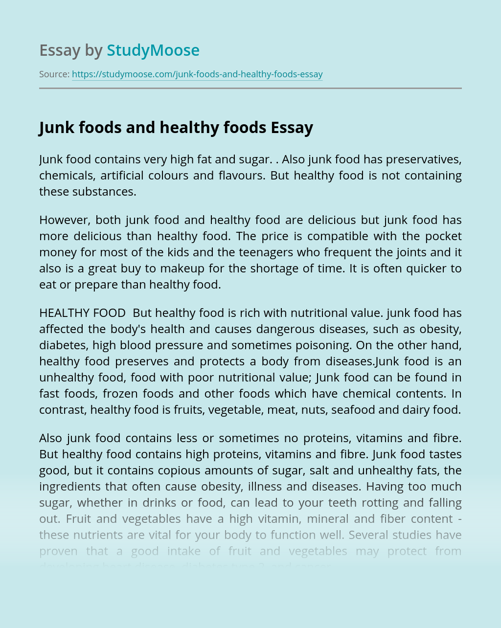 Junk foods and healthy foods