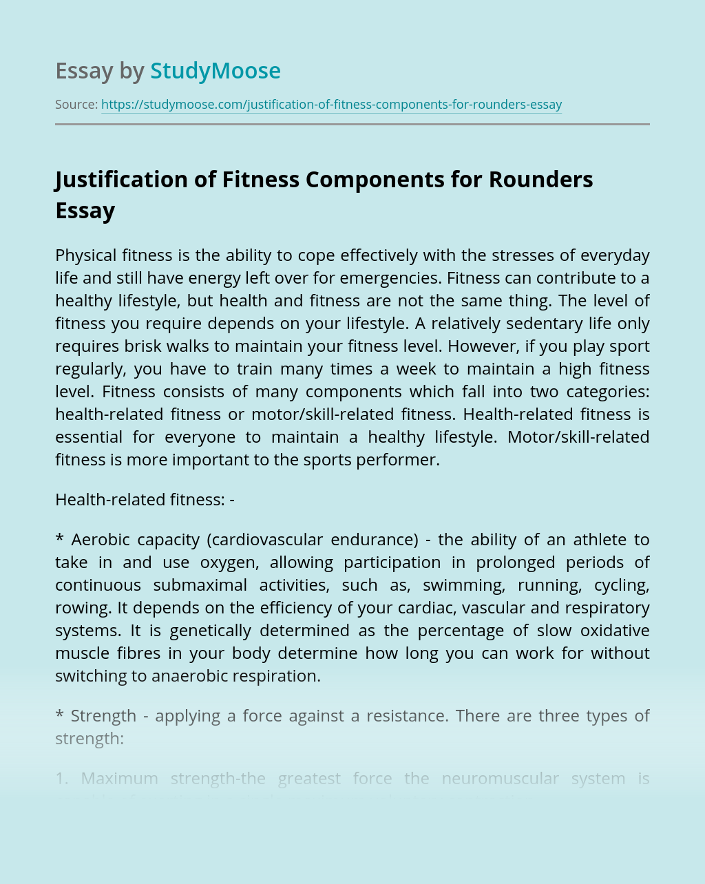 Justification of Fitness Components for Rounders
