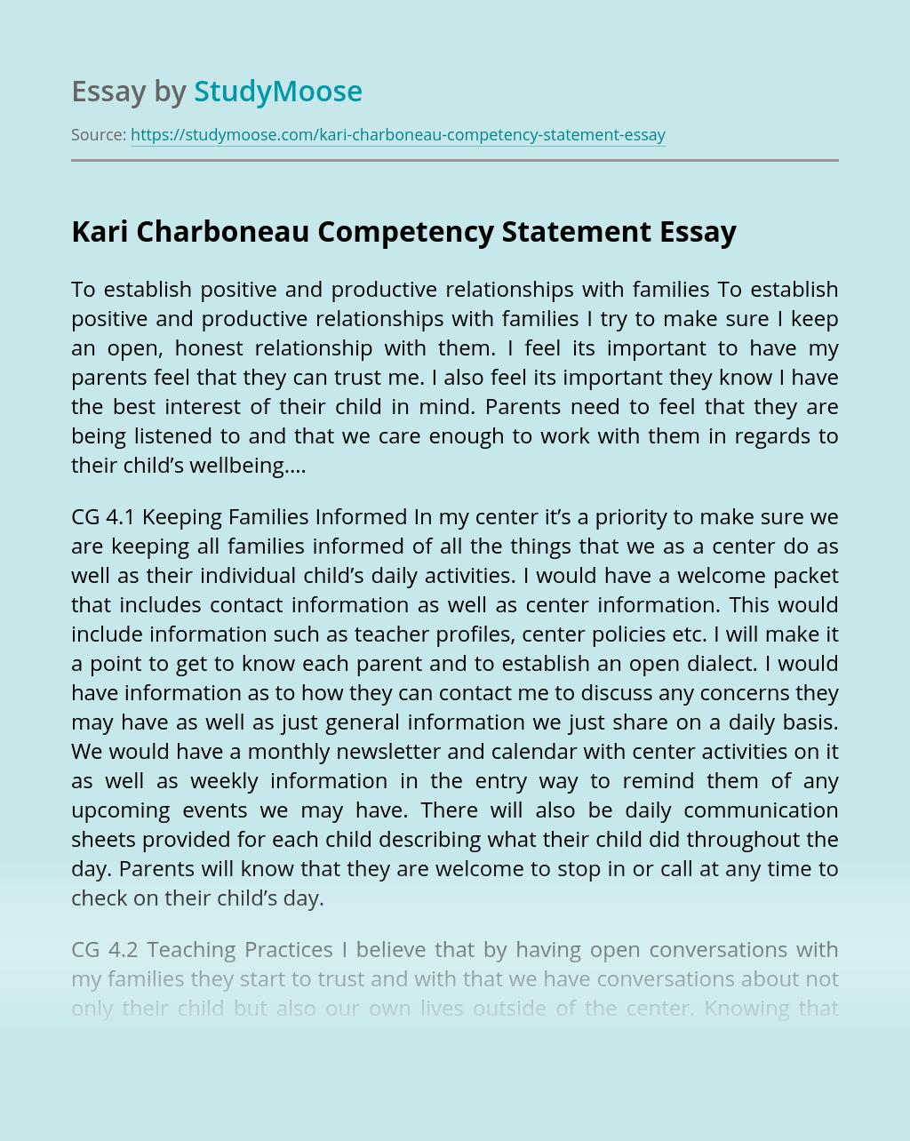 Kari Charboneau Competency Statement