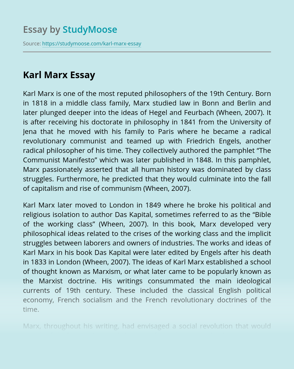 Karl Marx - Sociology