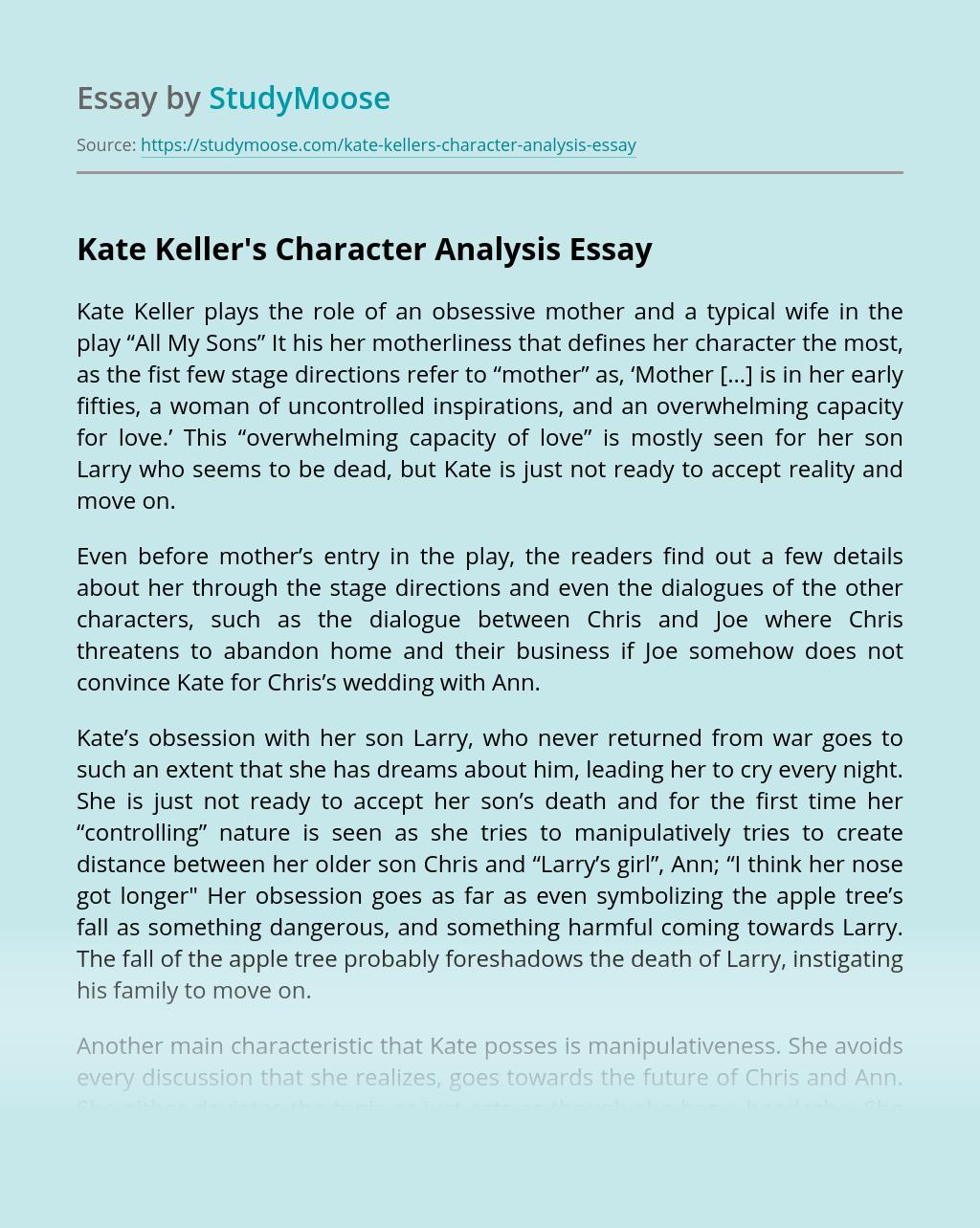 Kate Keller's Character Analysis
