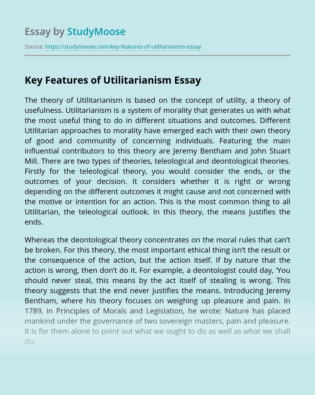 Key Features of Utilitarianism
