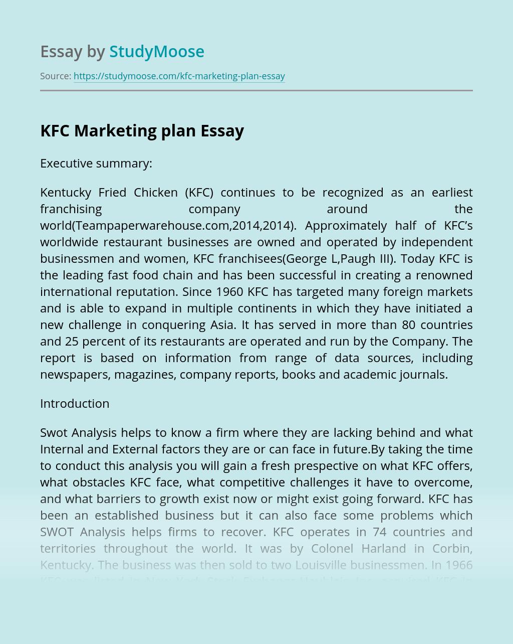 KFC Marketing plan