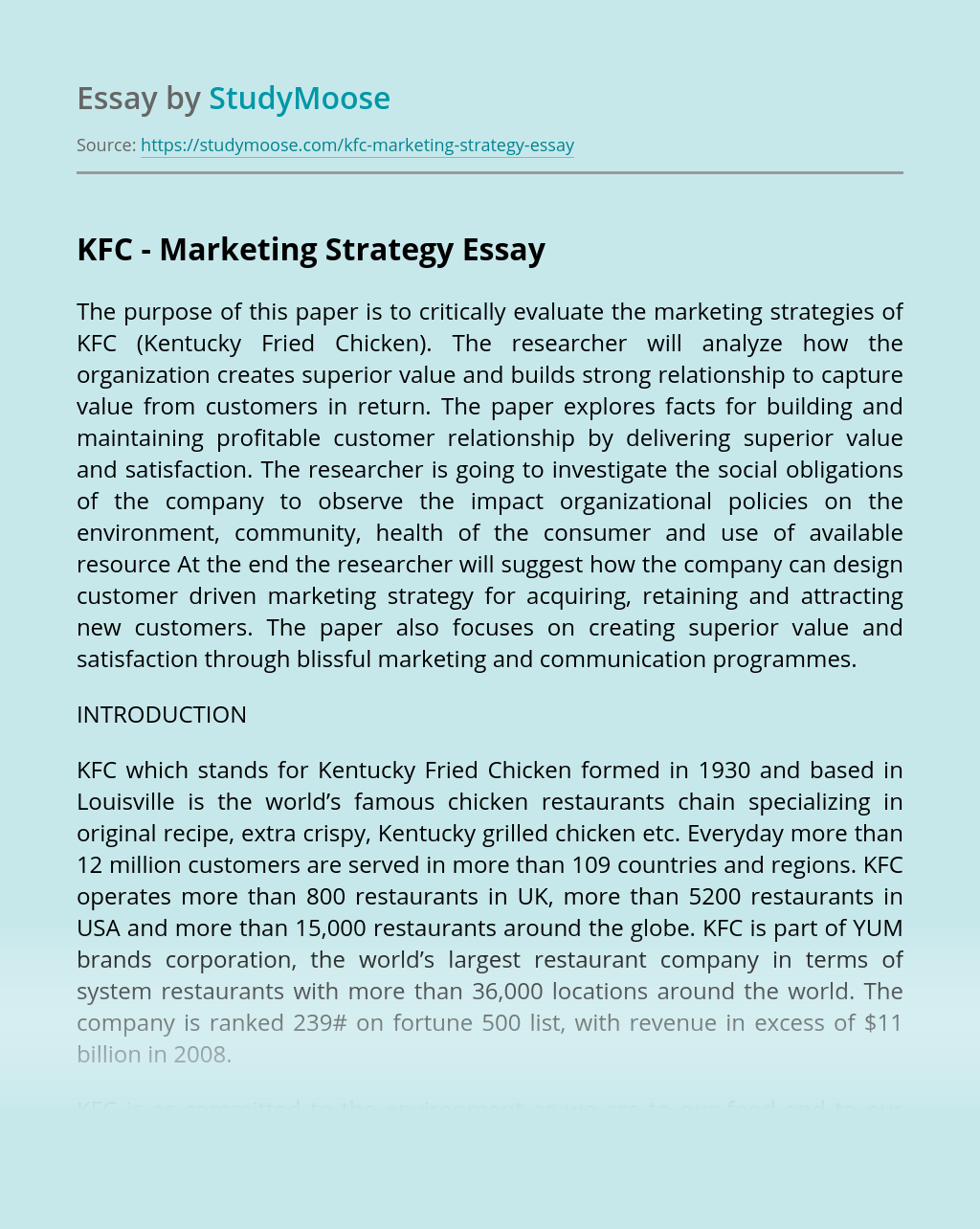 KFC – Marketing Strategy