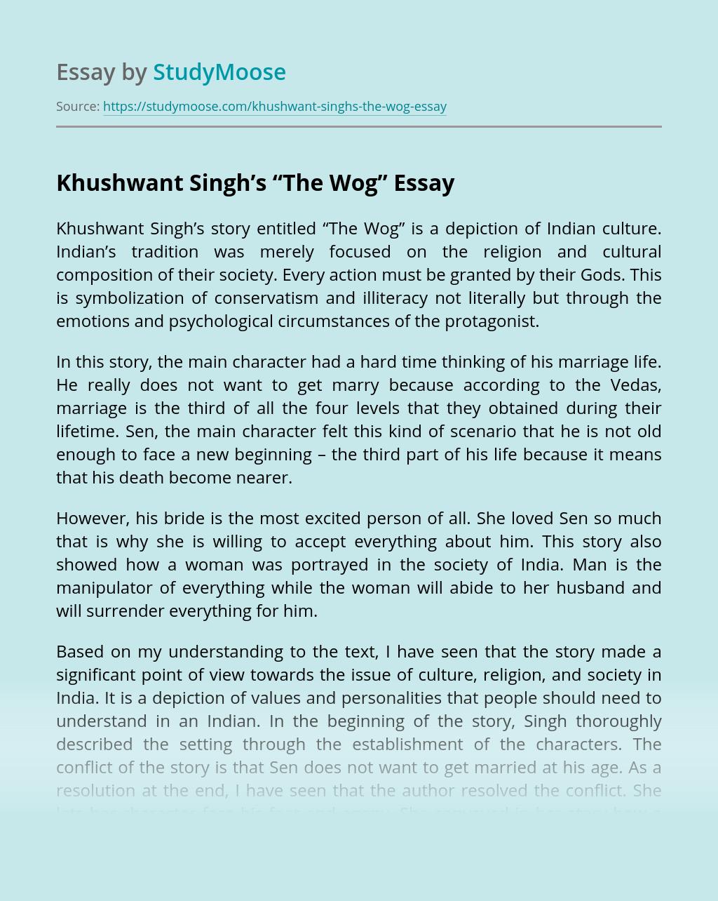 "Khushwant Singh's ""The Wog"""