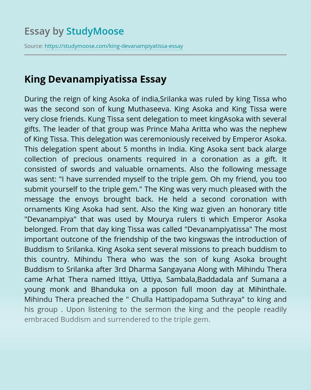 King Devanampiyatissa