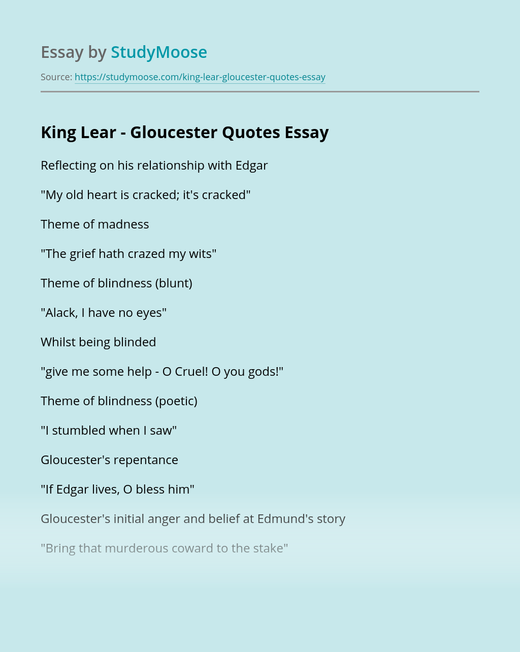 King Lear - Gloucester Quotes