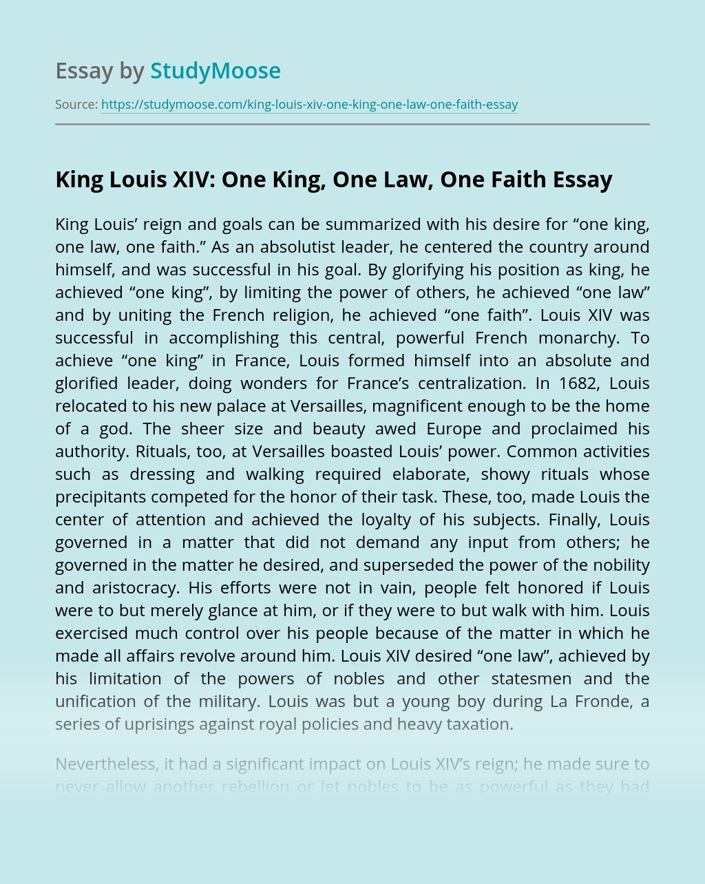 King Louis XIV: One King, One Law, One Faith