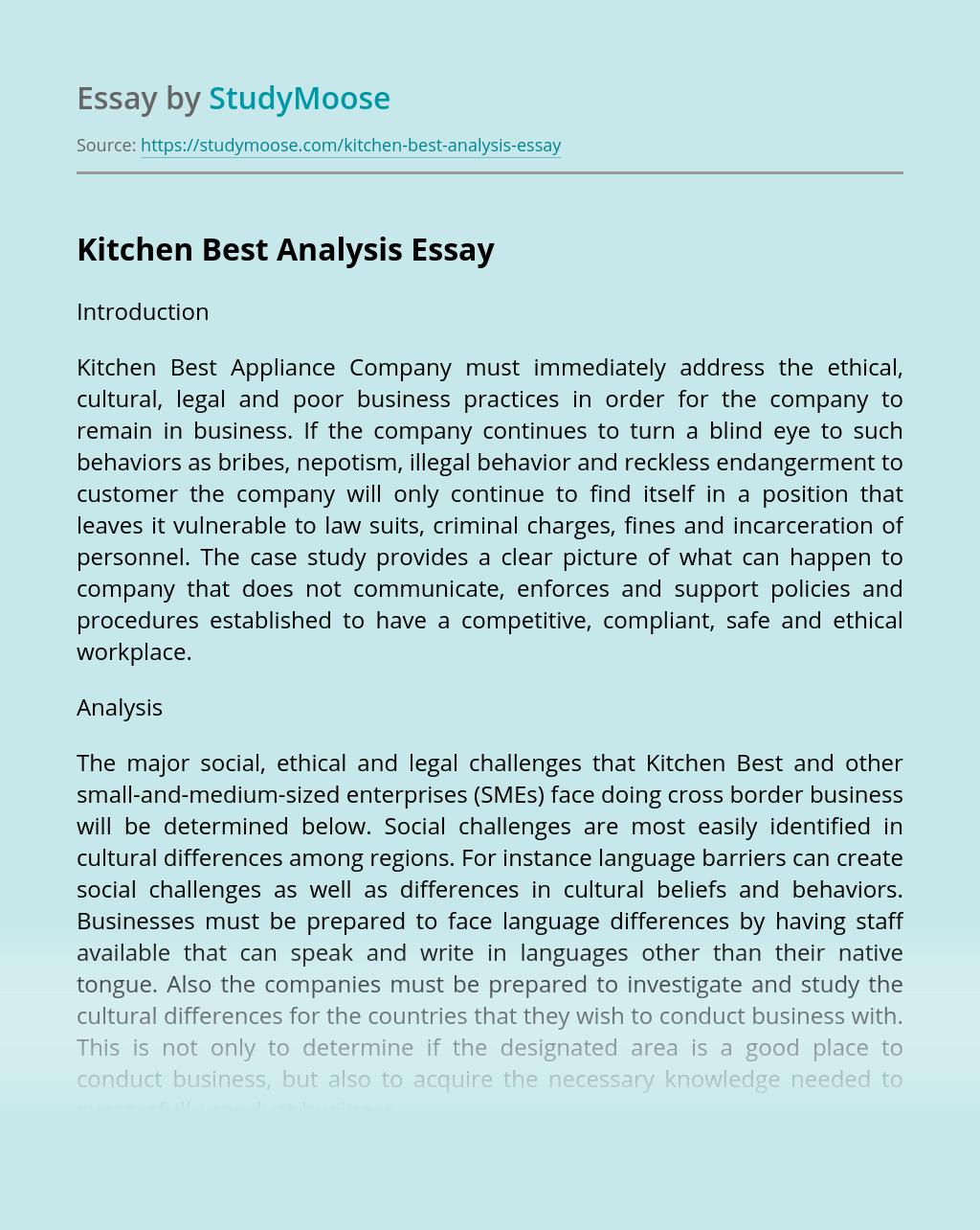 Kitchen Best Analysis