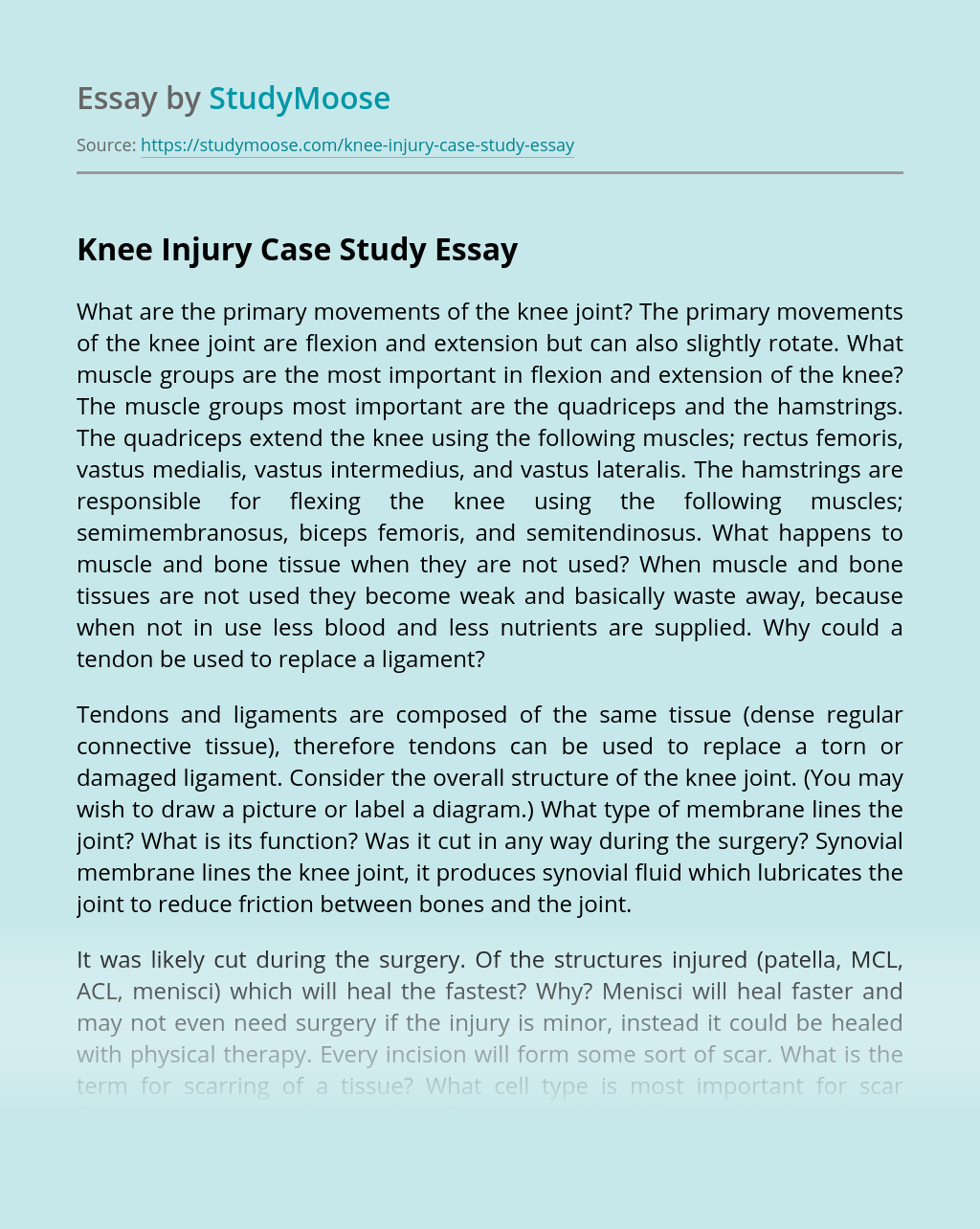 Knee Injury Case Study