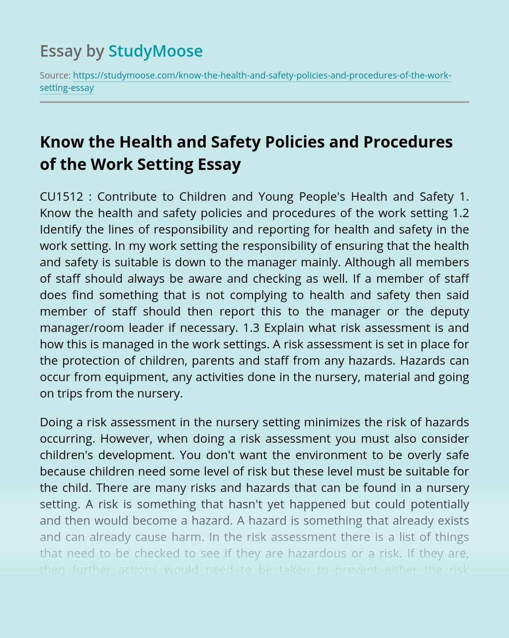 Know the Health and Safety Policies and Procedures of the Work Setting