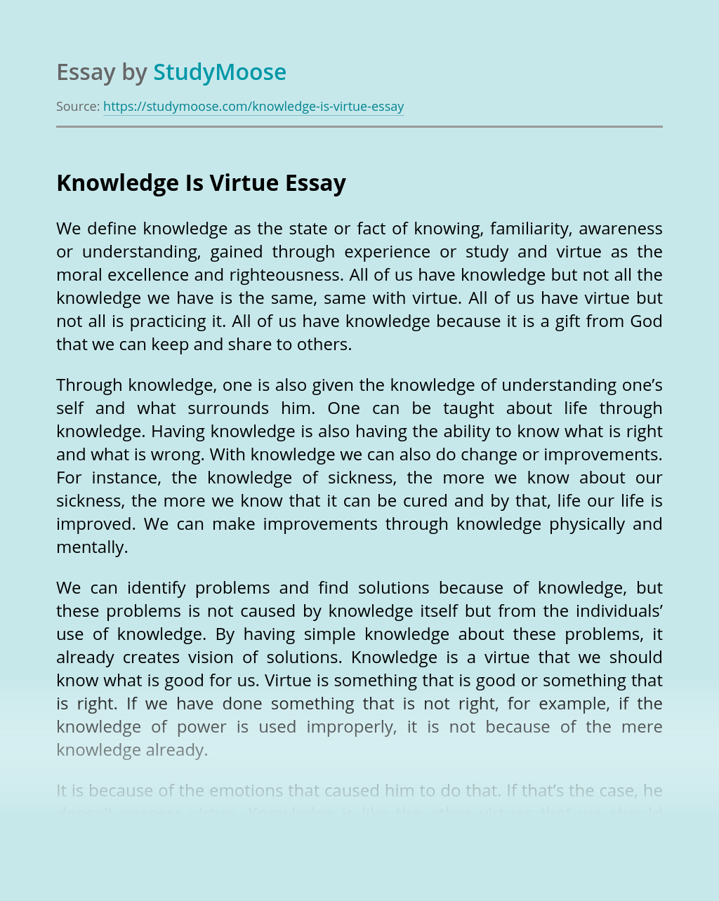 Knowledge Is Virtue