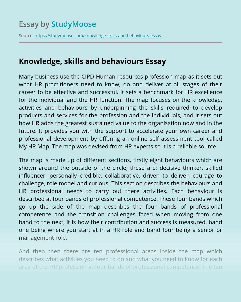 Knowledge, skills and behaviours