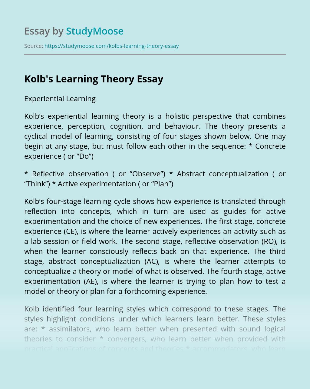 Kolb's Learning Theory